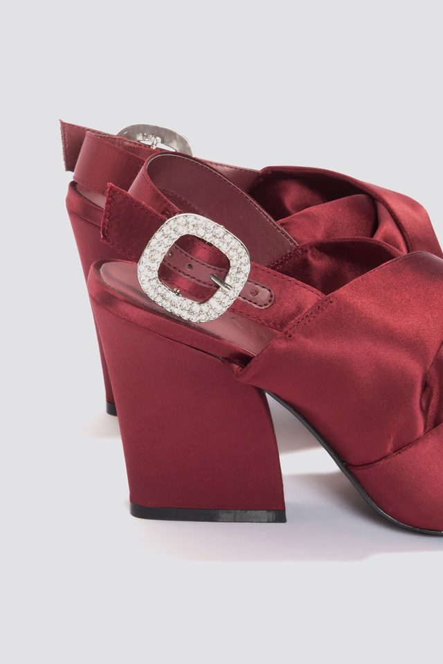 Peep Toe Block Sandals Dark Red