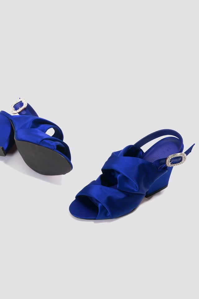 Peep Toe Block Sandals Cobalt