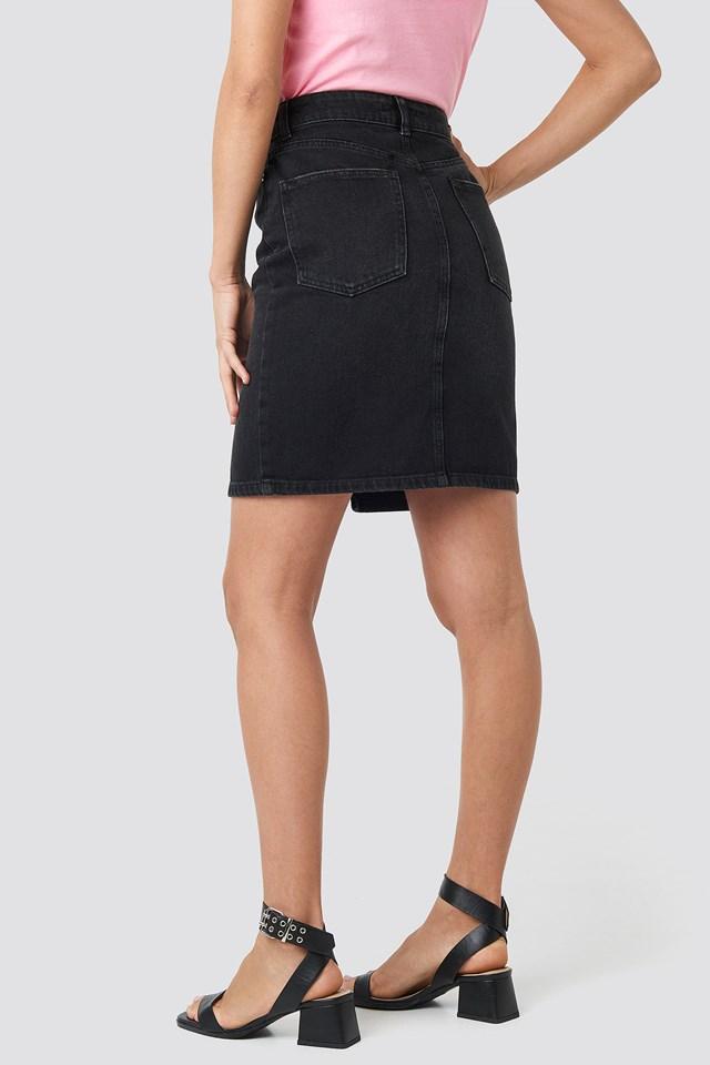 Pencil Denim Mini Skirt Black