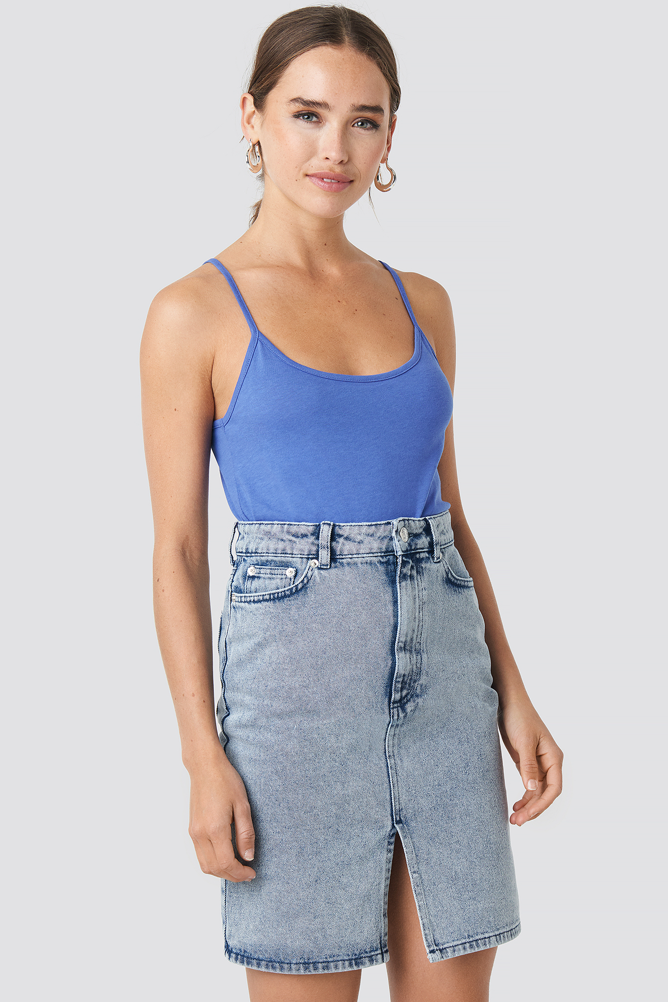 na-kd -  Pencil Denim Mini Skirt - Blue