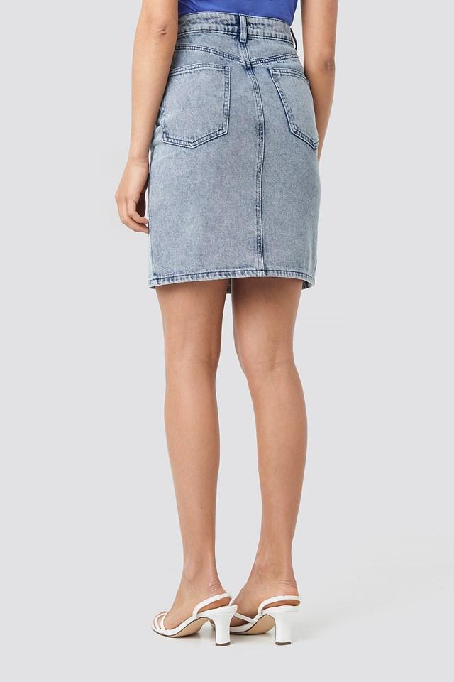Pencil Denim Mini Skirt Blue