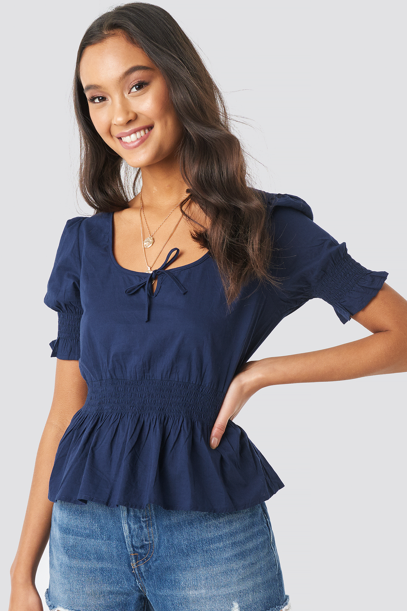 Peplum Detail Shirred Top NA-KD.COM