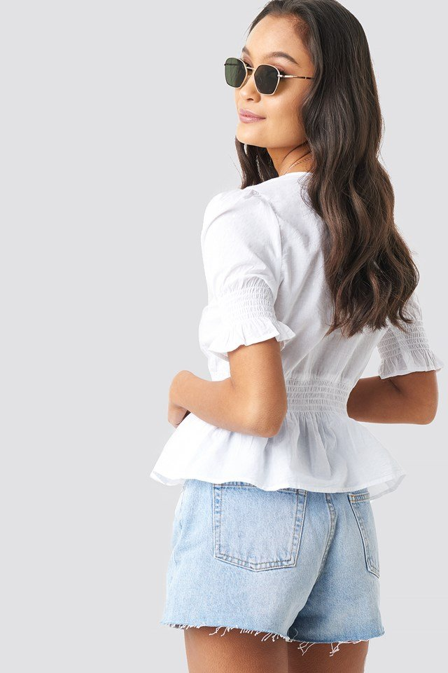 Peplum Detail Shirred Top White