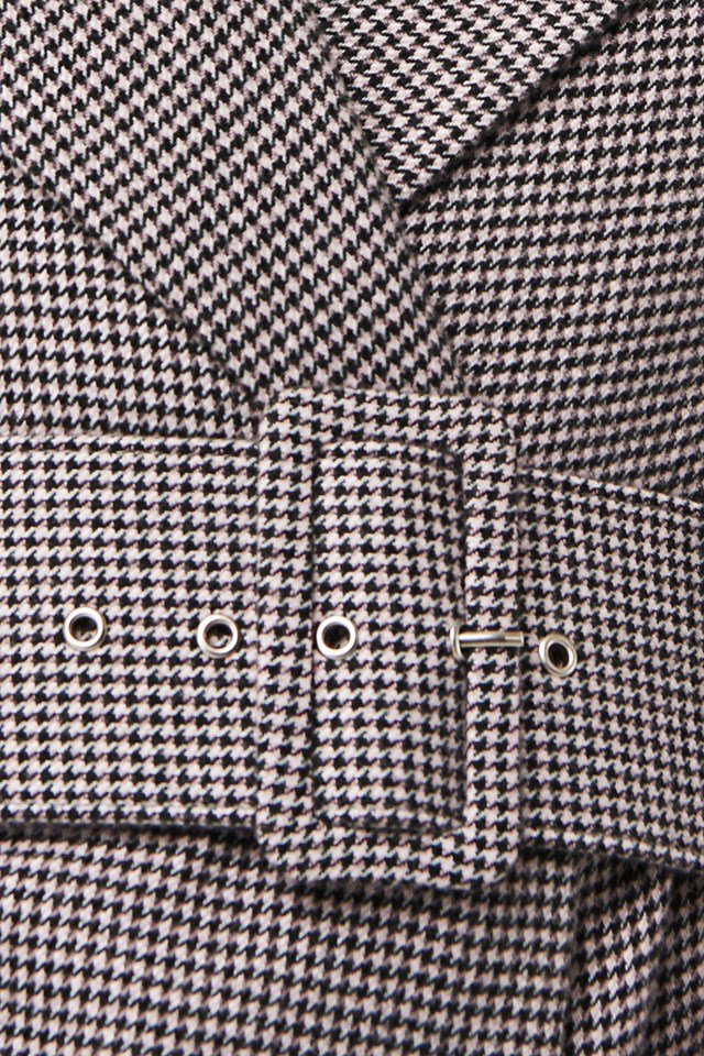 Petite Check Big Shoulder Blazer Black/Pink