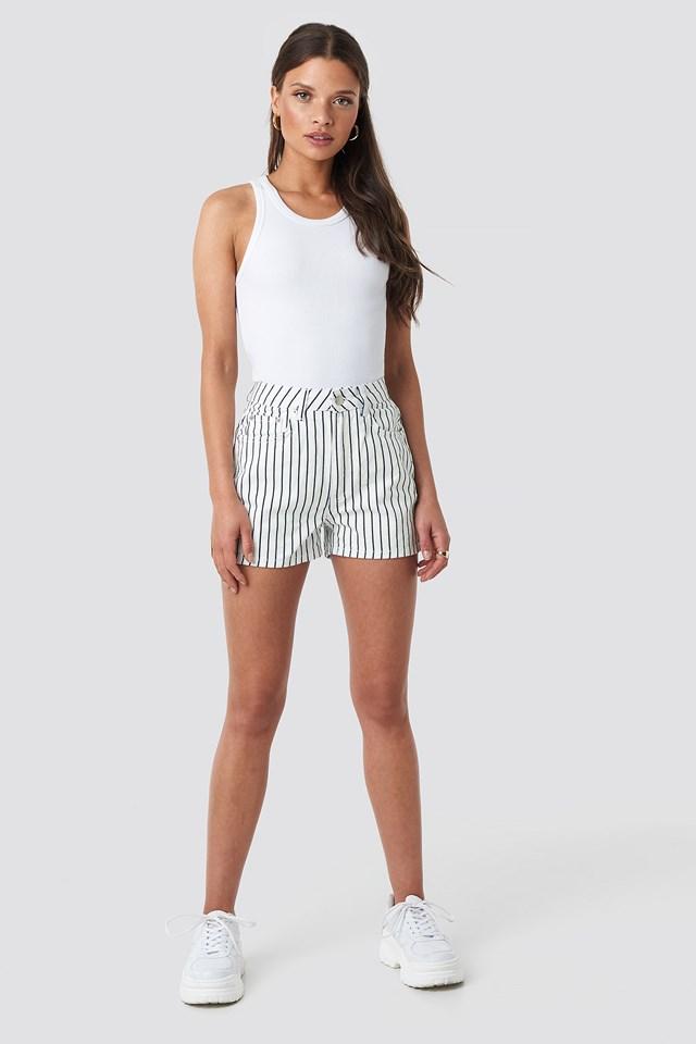 Pin Striped Denim Shorts White