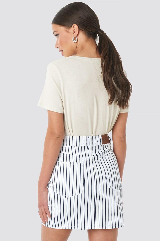 Pin Striped Denim Skirt White