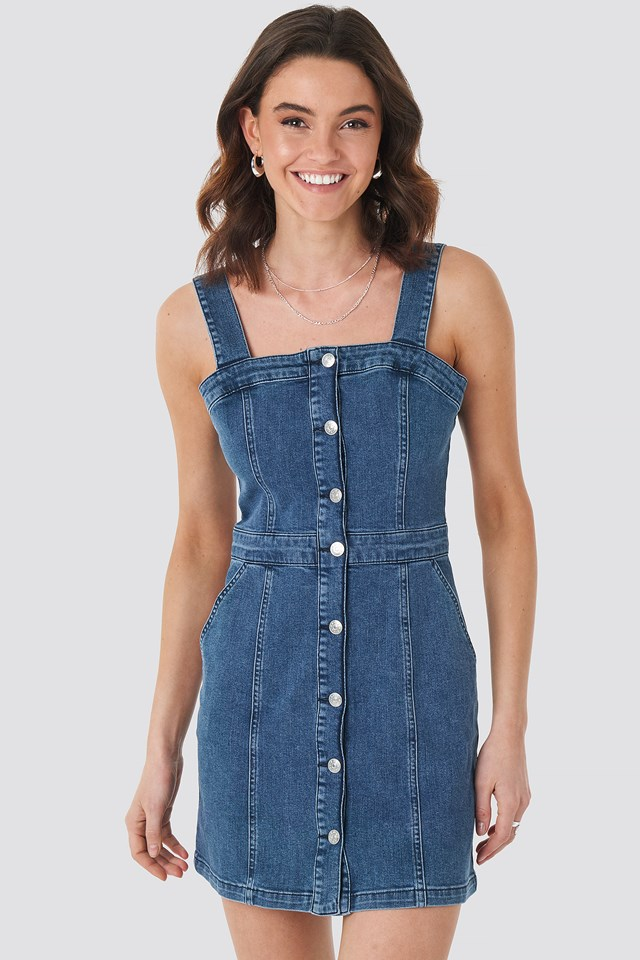 Pinafore Mini Denim Dress Mid Blue Wash