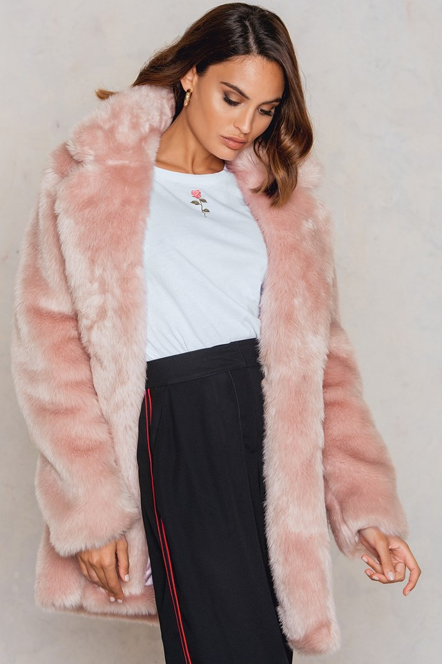 Colored Faux Fur Coat Pink