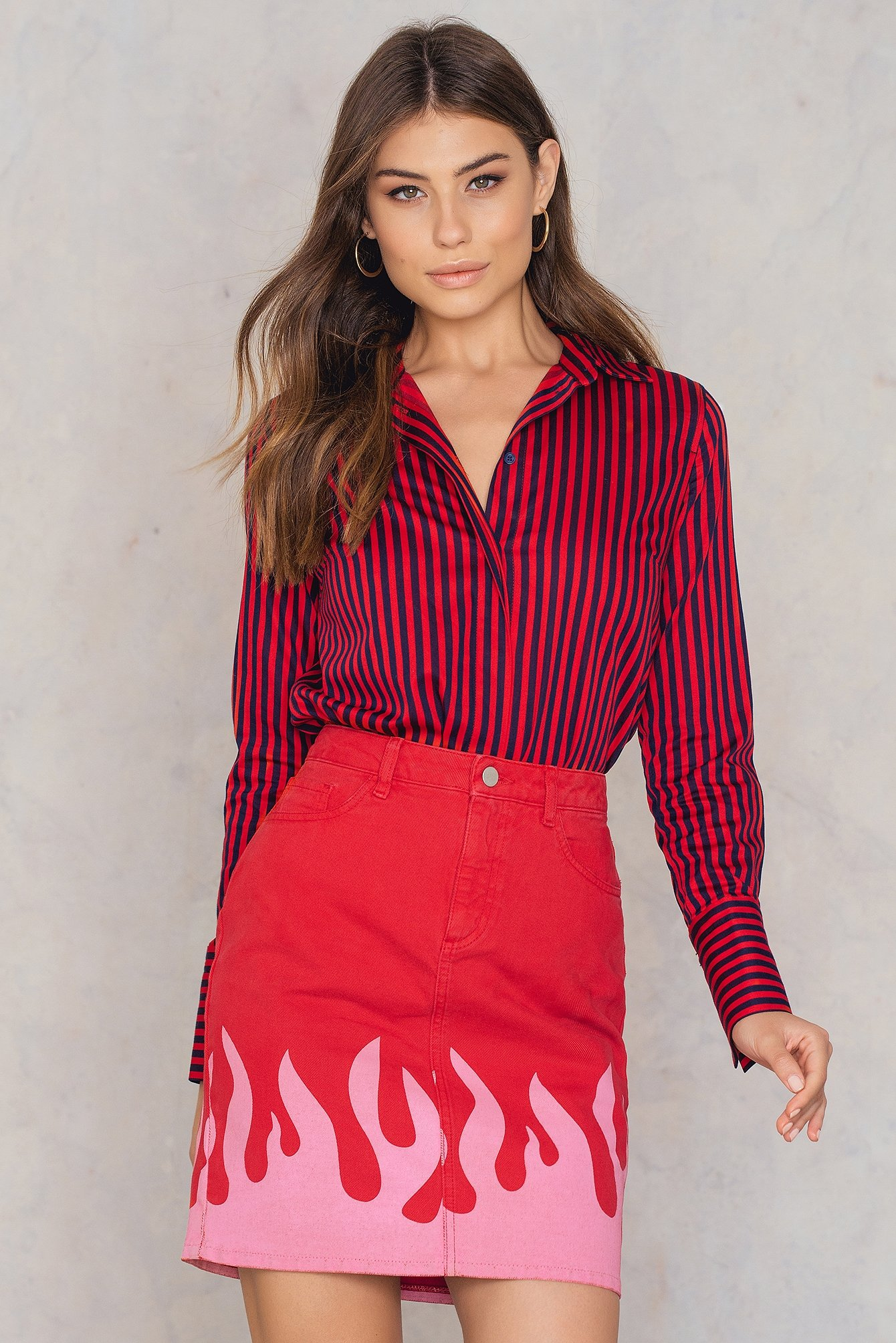 Red Pink Flame Denim Skirt