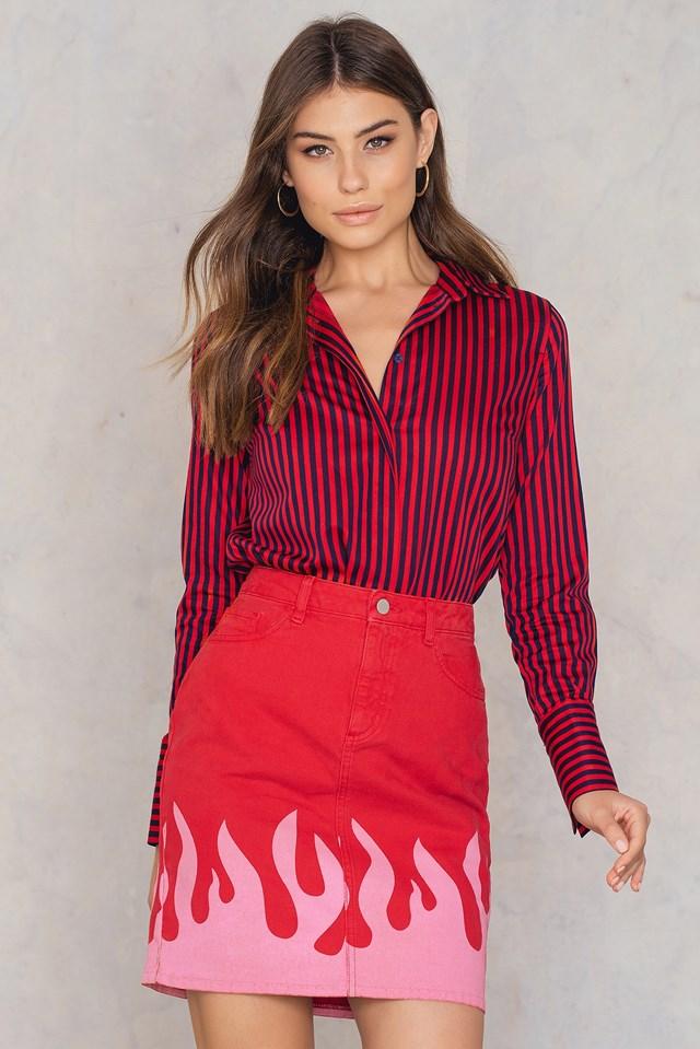 Pink Flame Denim Skirt Red
