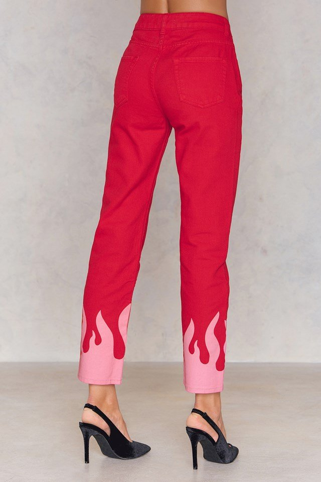 Pink Flame Jeans Red