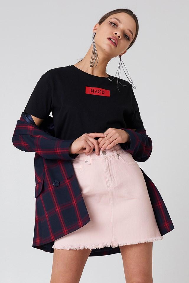 Dżinsowa spódnica z surowym brzegiem Light Pink