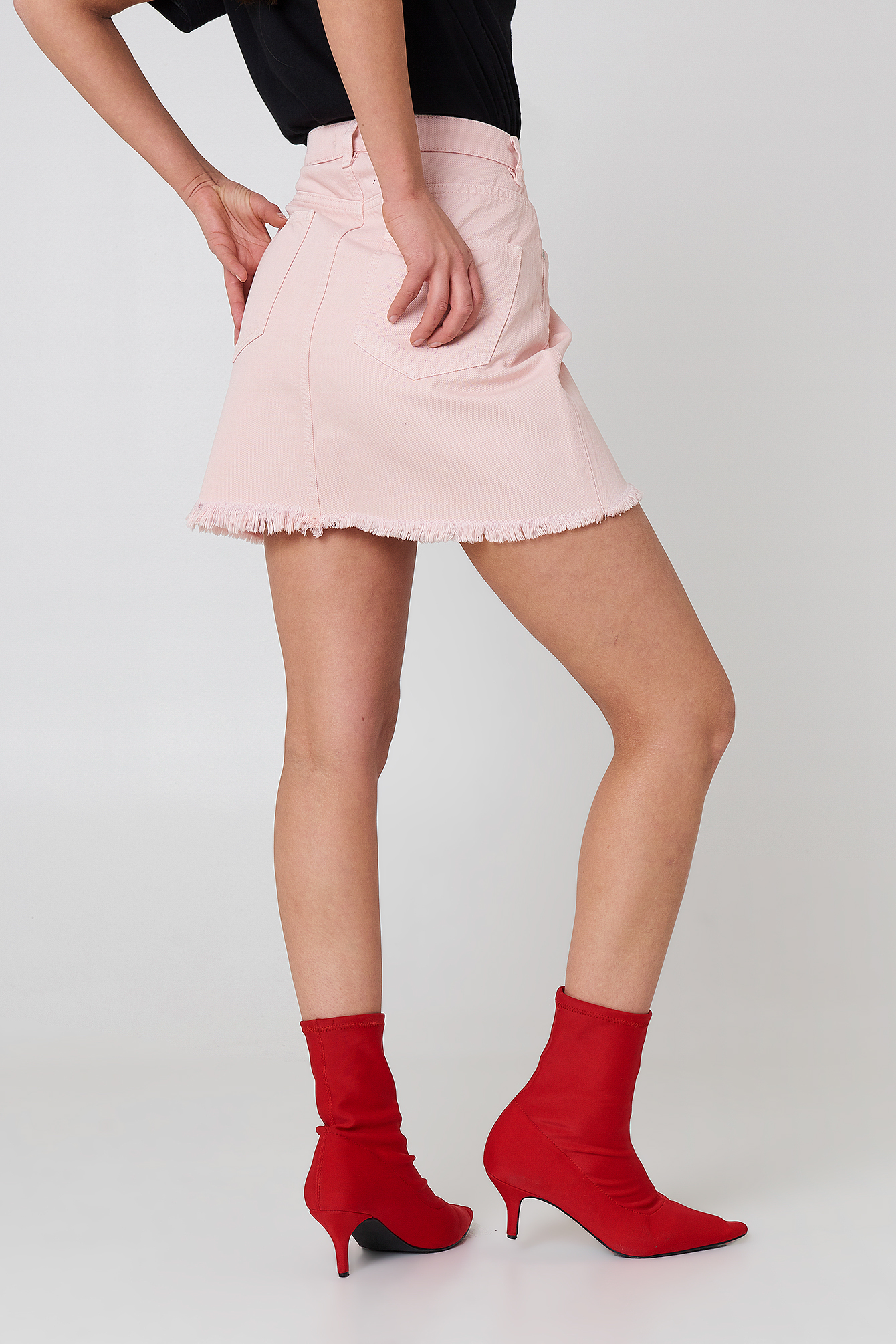 Pink Raw Hem Denim Skirt NA-KD.COM
