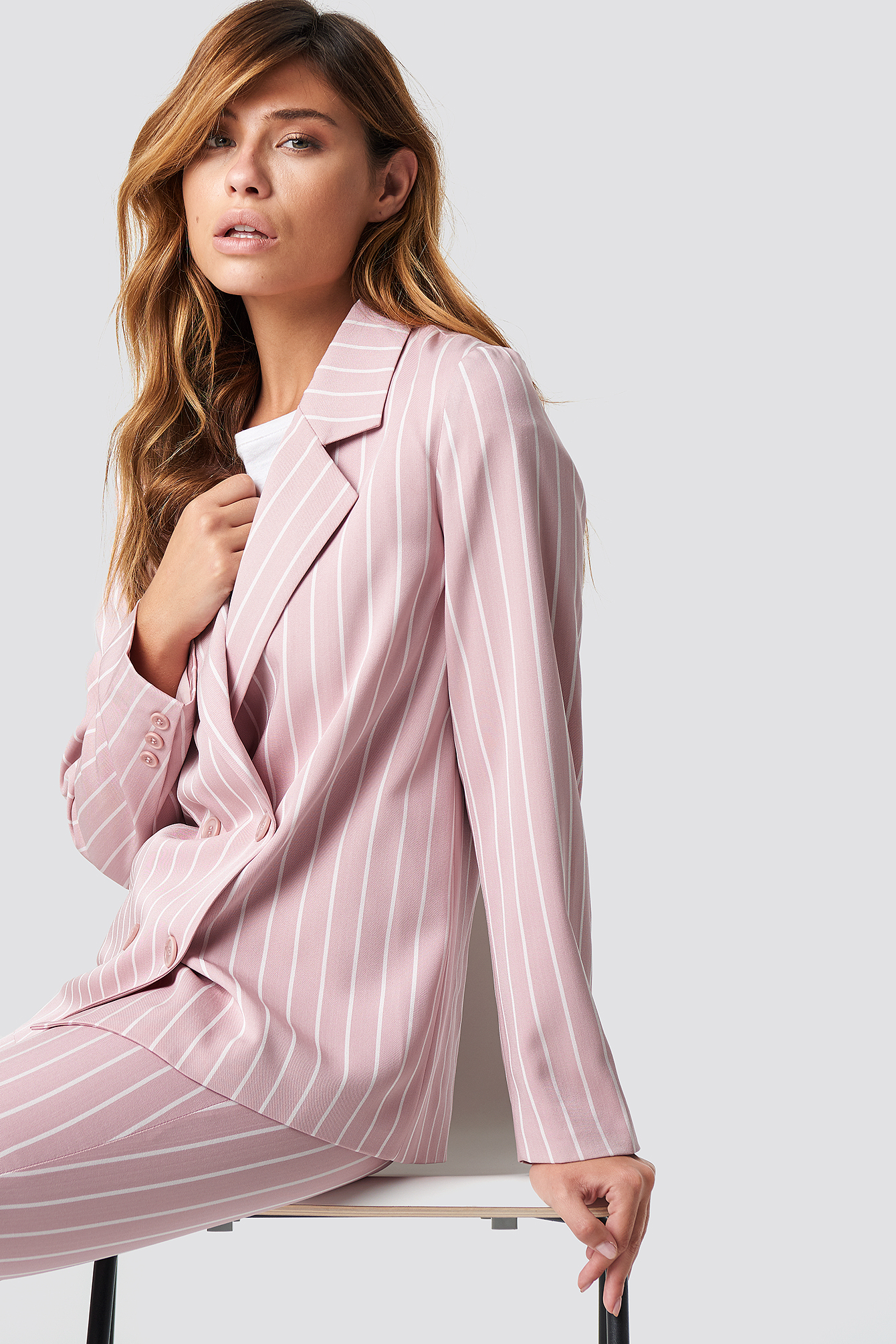 Pink Striped Blazer NA-KD.COM