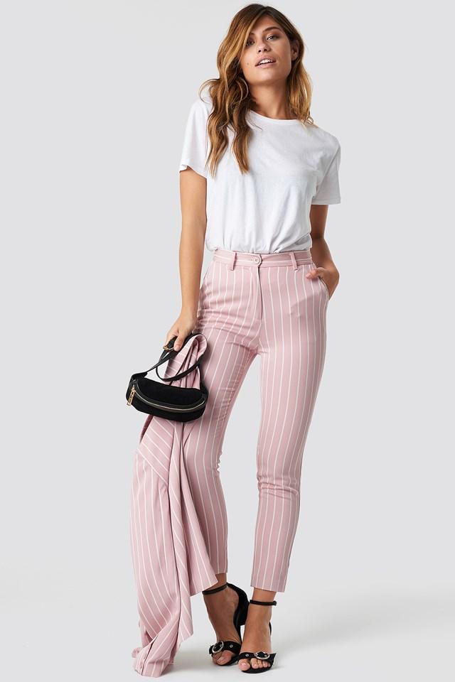 Pink Striped Suit Pants Stripe