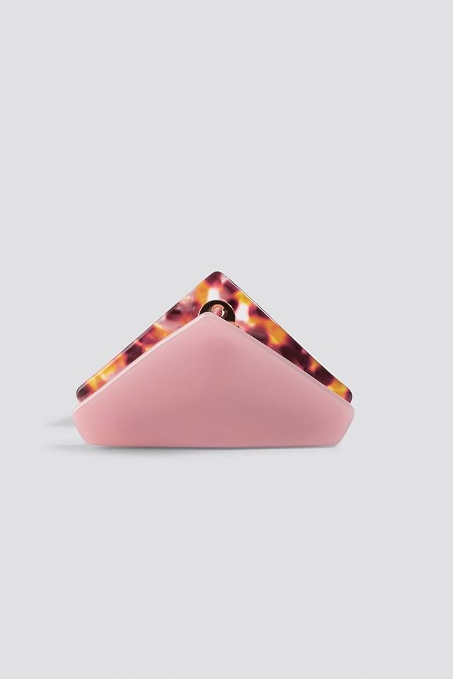 Pink Triangular Resin Hair Clip Pink