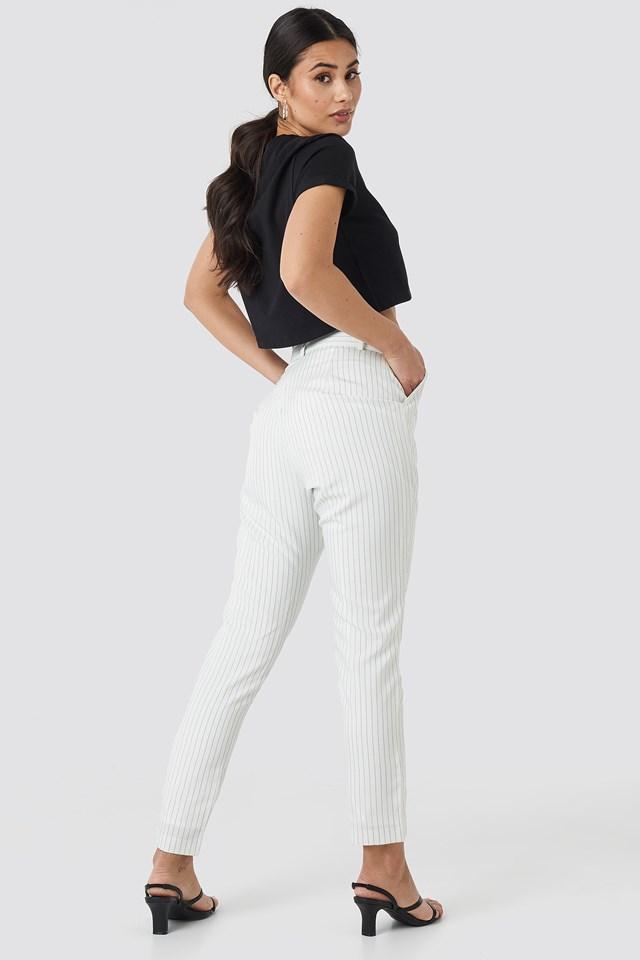 Pinstripe Suit Pants White