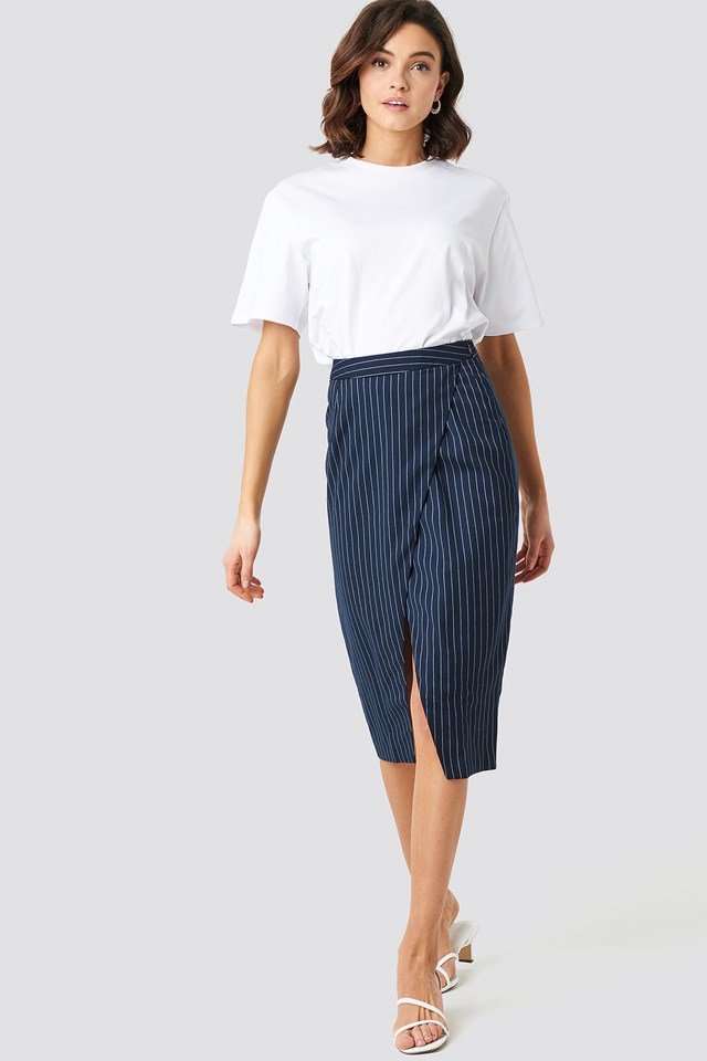 Pinstriped Asymmetric Skirt Blue