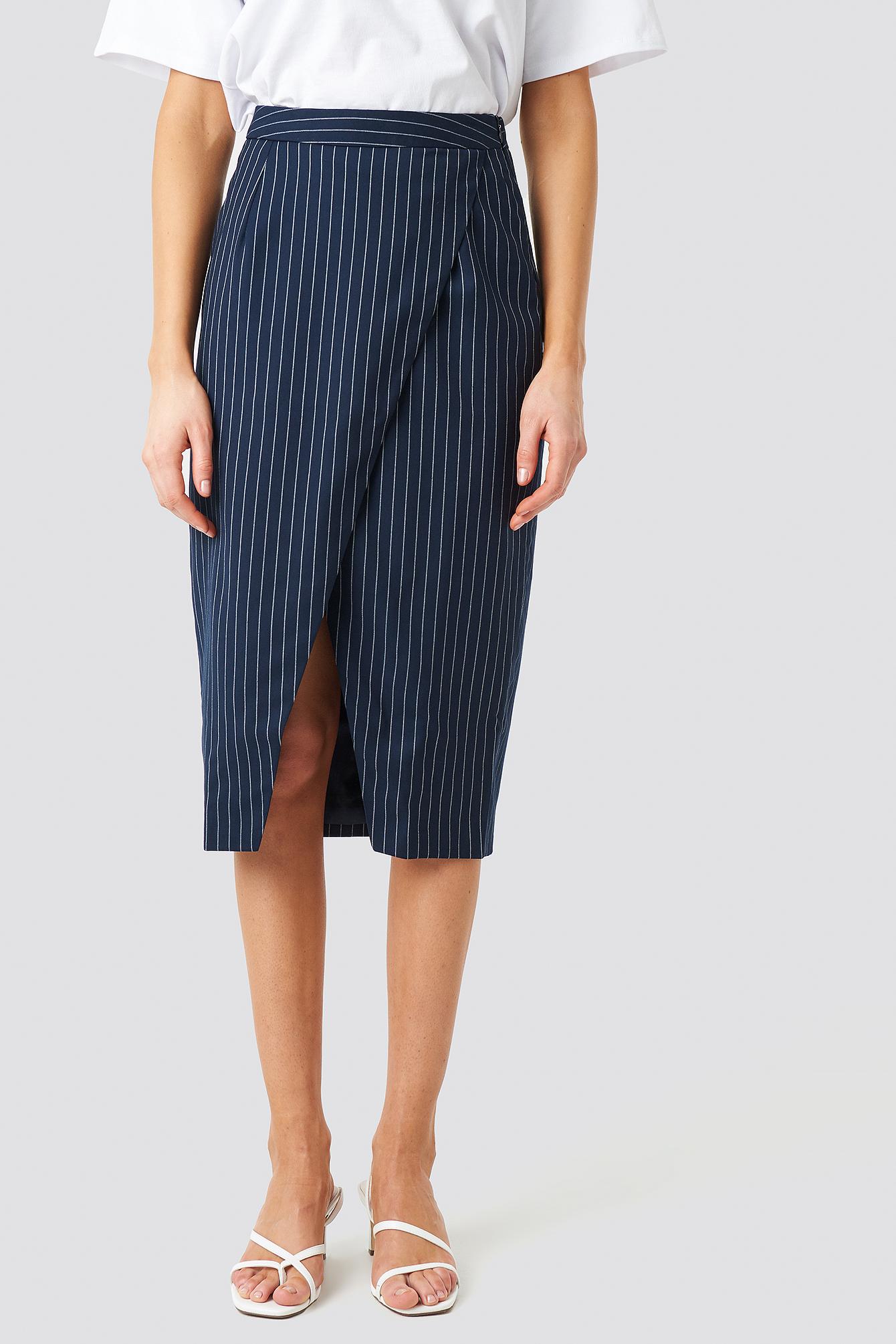 Pinstriped Asymmetric Skirt NA-KD.COM