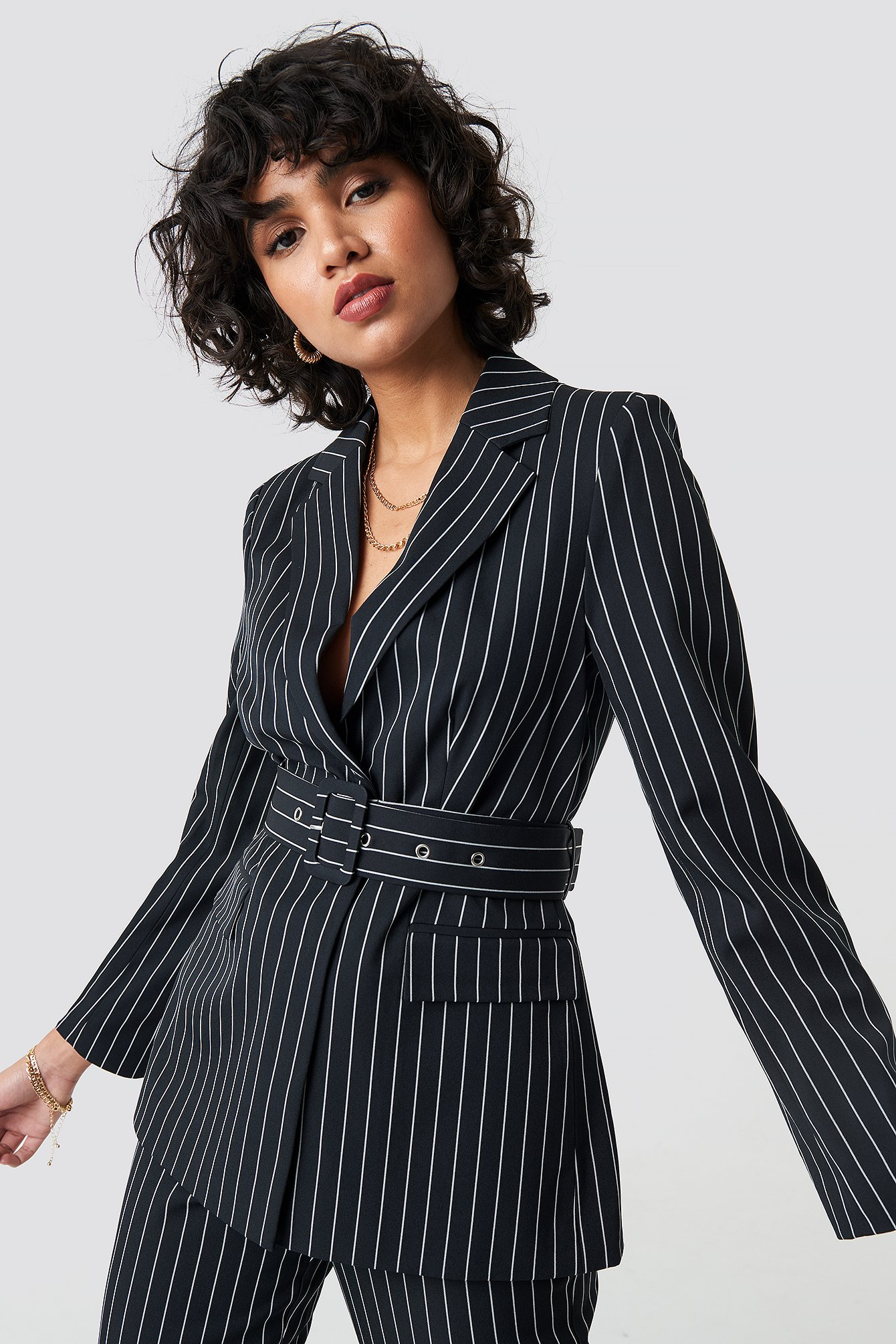 na-kd classic -  Pinstriped Belted Blazer - Black