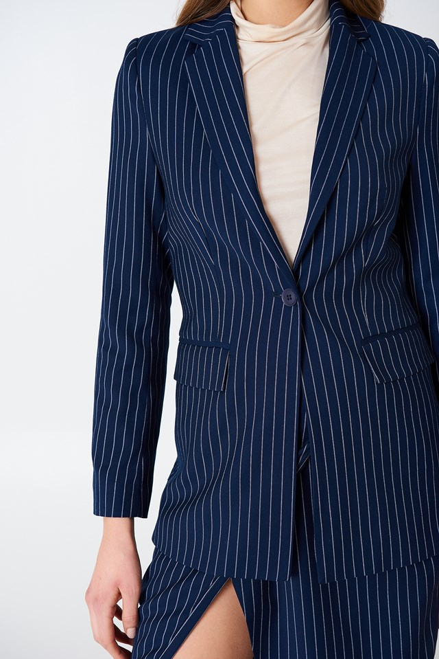 Pinstriped Blazer Blue