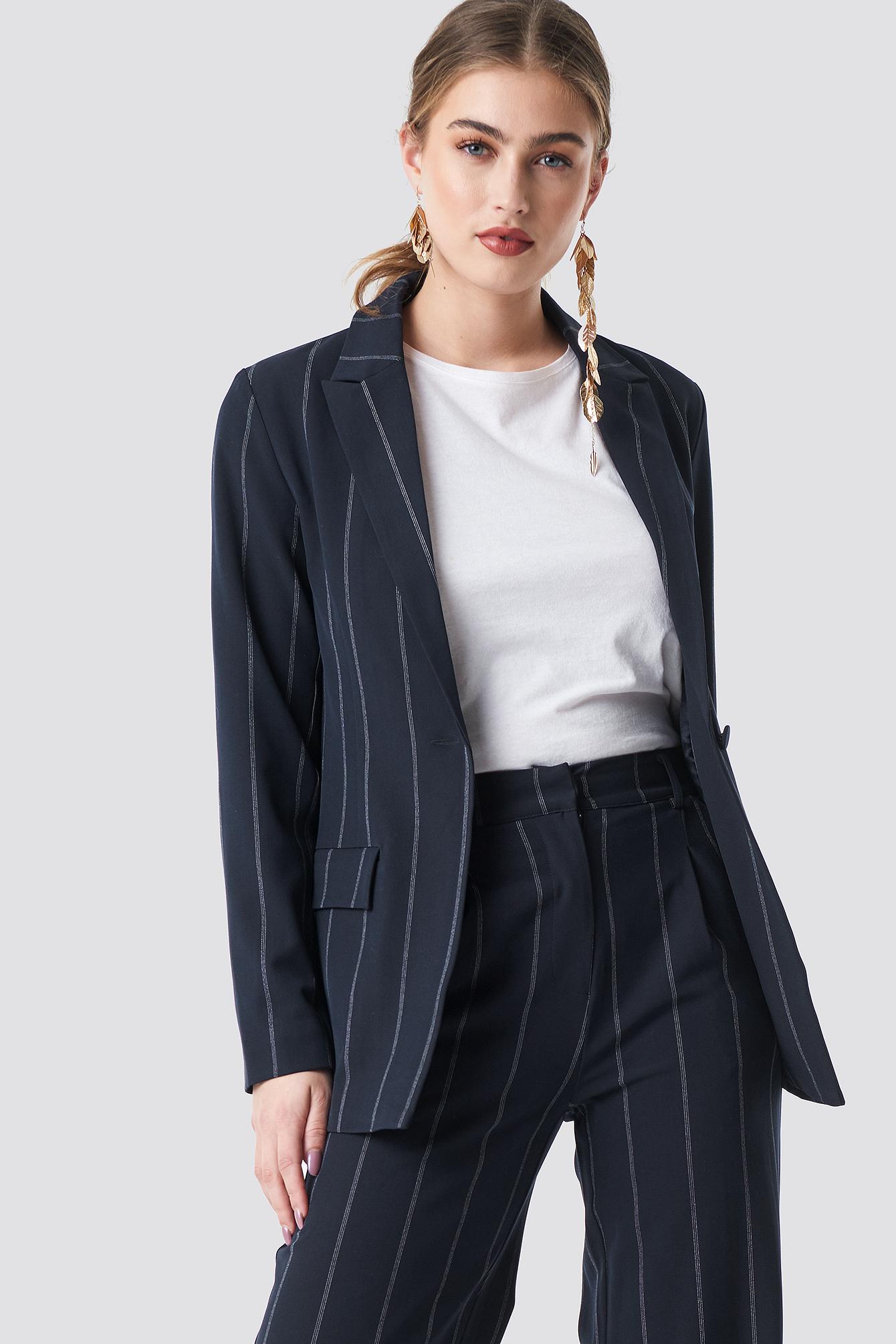 na-kd classic -  Pinstriped Blazer - Blue