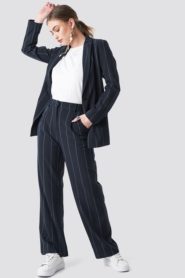 Pinstriped Blazer Dark Navy