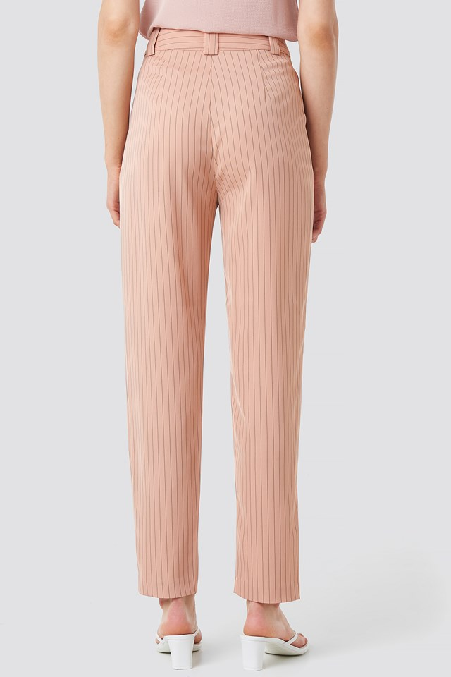 Pinstriped Cigarette Pants Dusty Pink