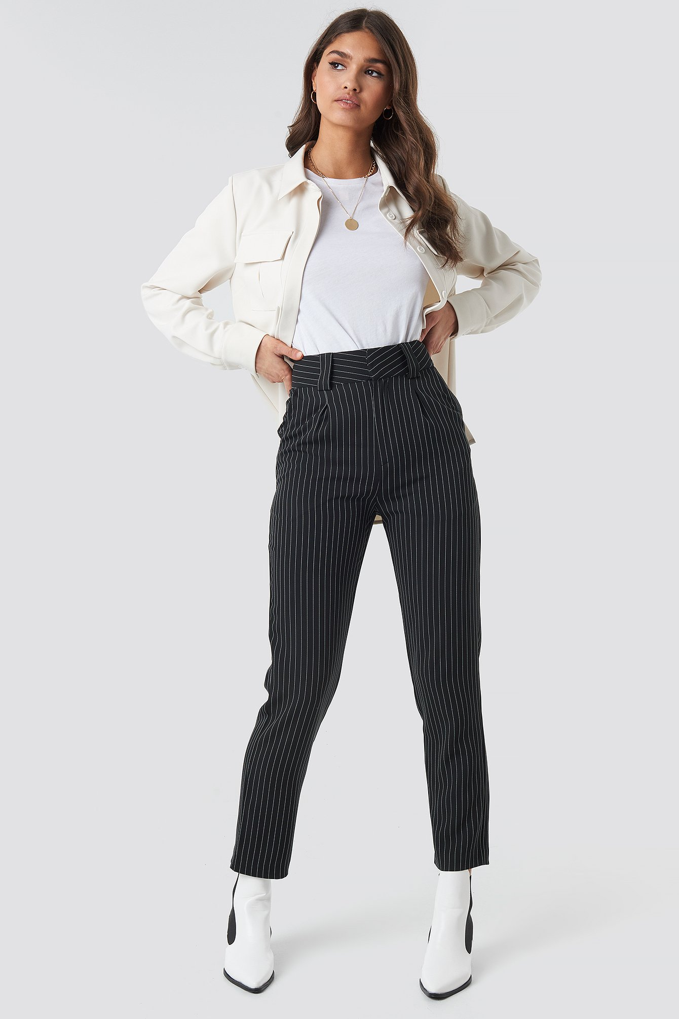 na-kd classic -  Pinstriped Cigarette Pants - Black