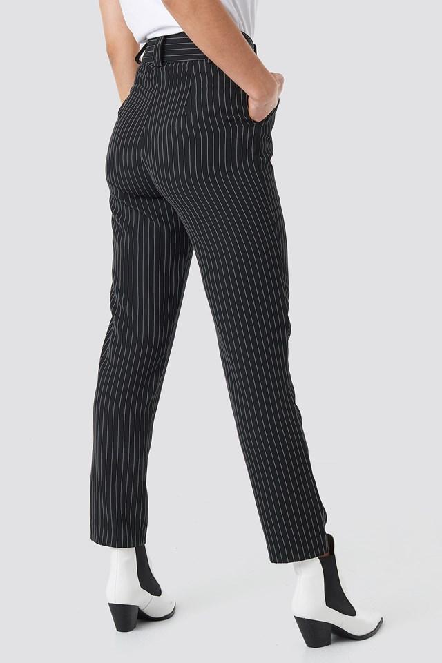 Pinstriped Cigarette Pants Black