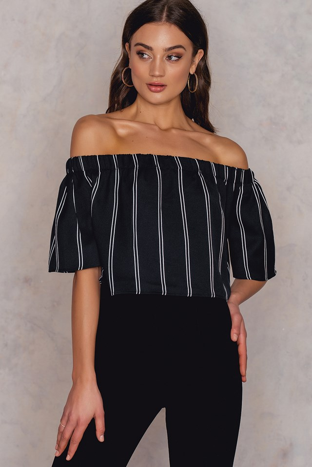 Pinstriped Cropped Off Shoulder Top Pinstripe