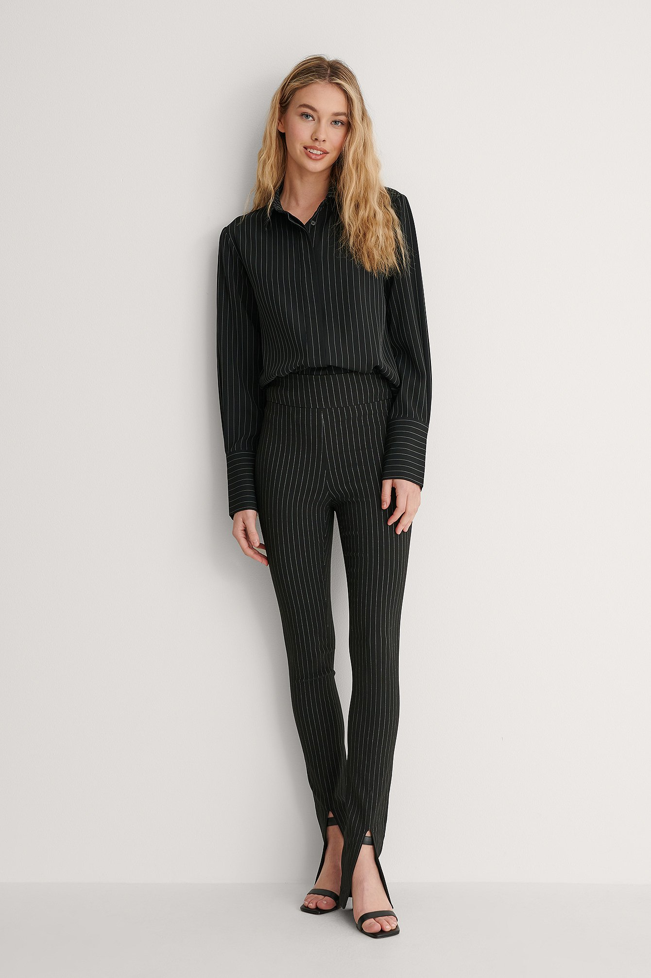 Pinstripe Pinstriped Front Slit Pants