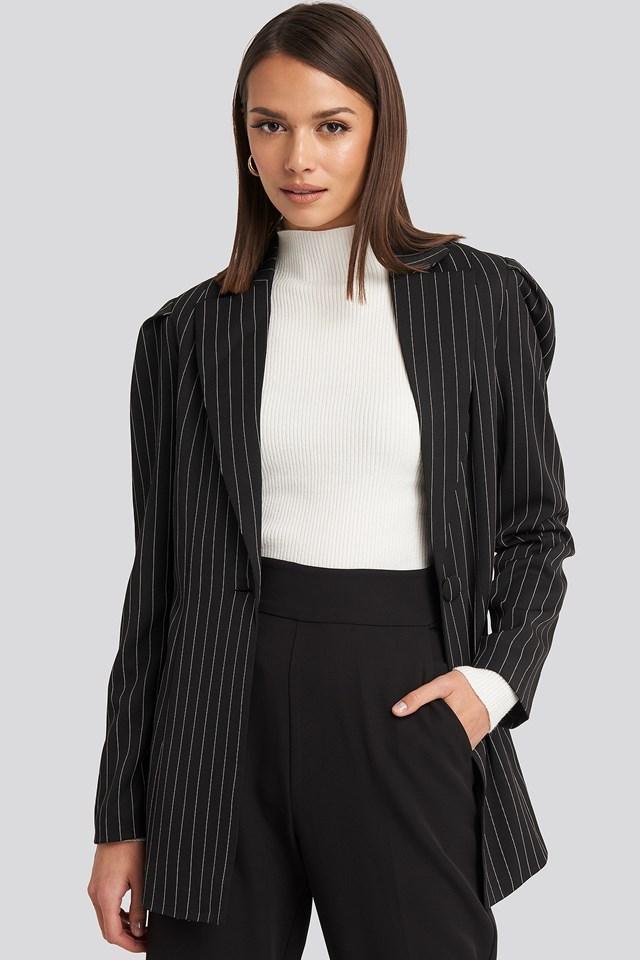 Pinstriped Puff Shoulder Blazer Black