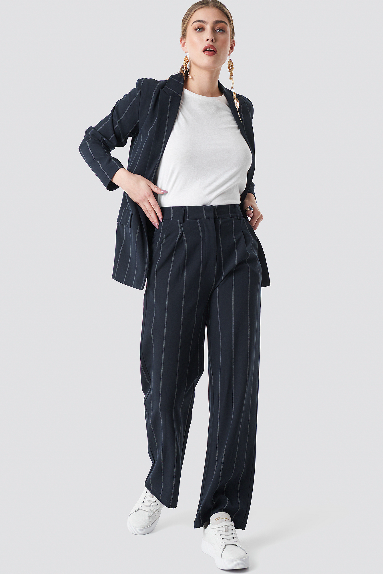 na-kd classic -  Pinstriped Straight Suit Pants - Blue