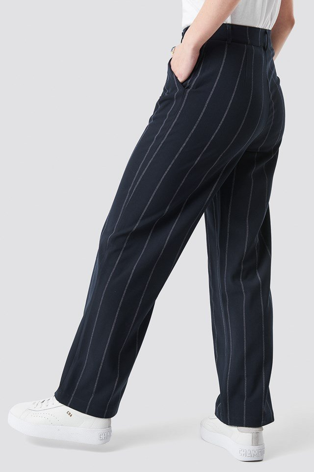 Pinstriped Straight Suit Pants Dark Navy