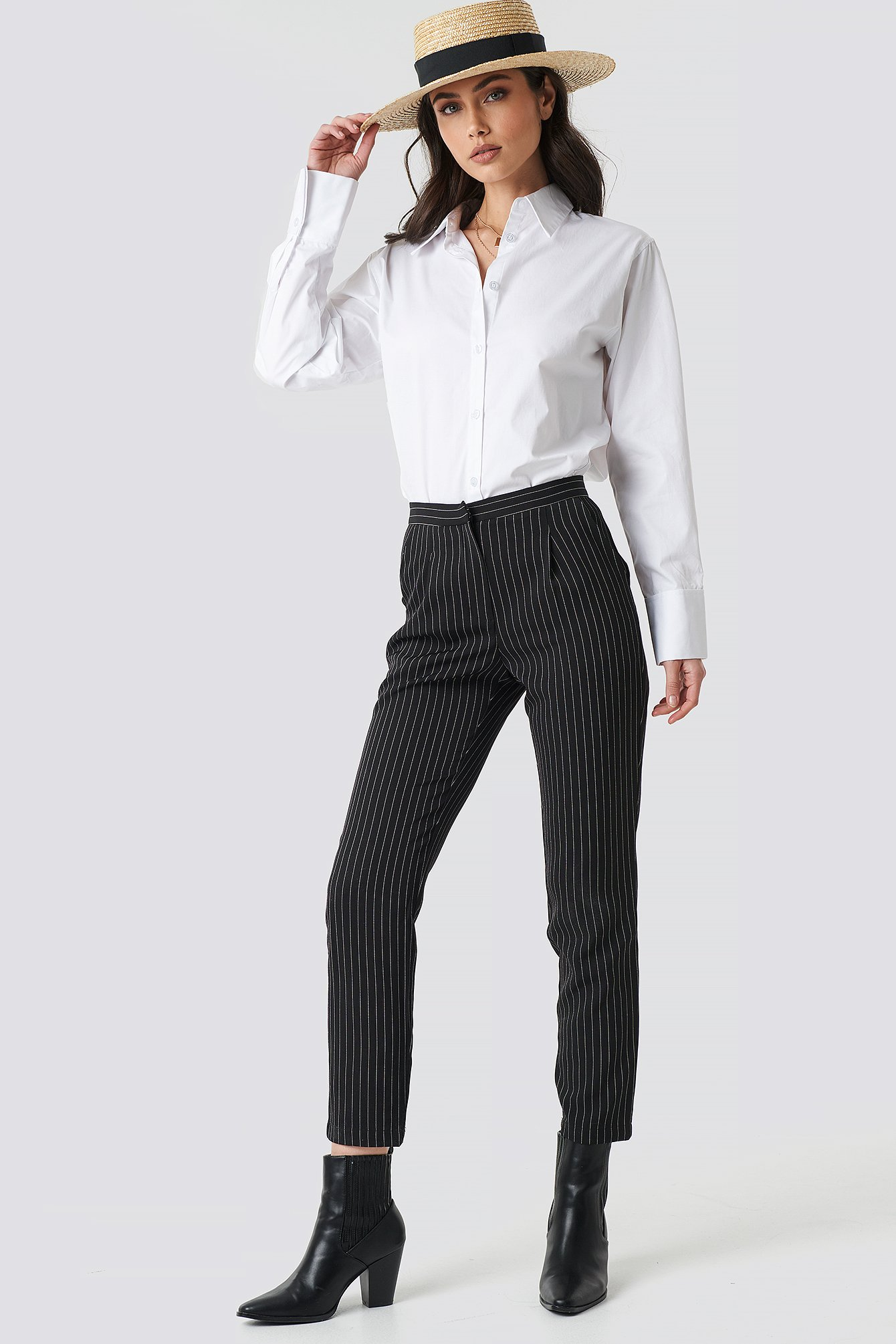 na-kd classic -  Pinstriped Suit Pants - Black
