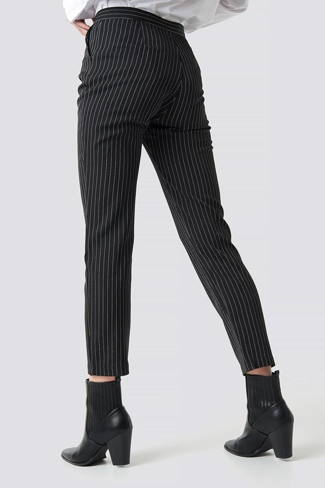 Pinstriped Suit Pants Black