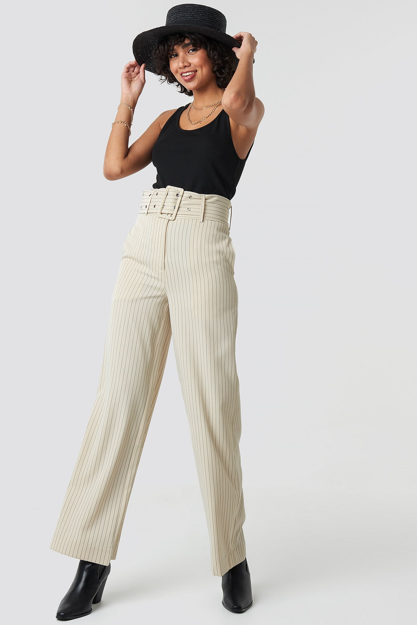 na-kd classic -  Pinstriped Wide Belted Pants - Beige