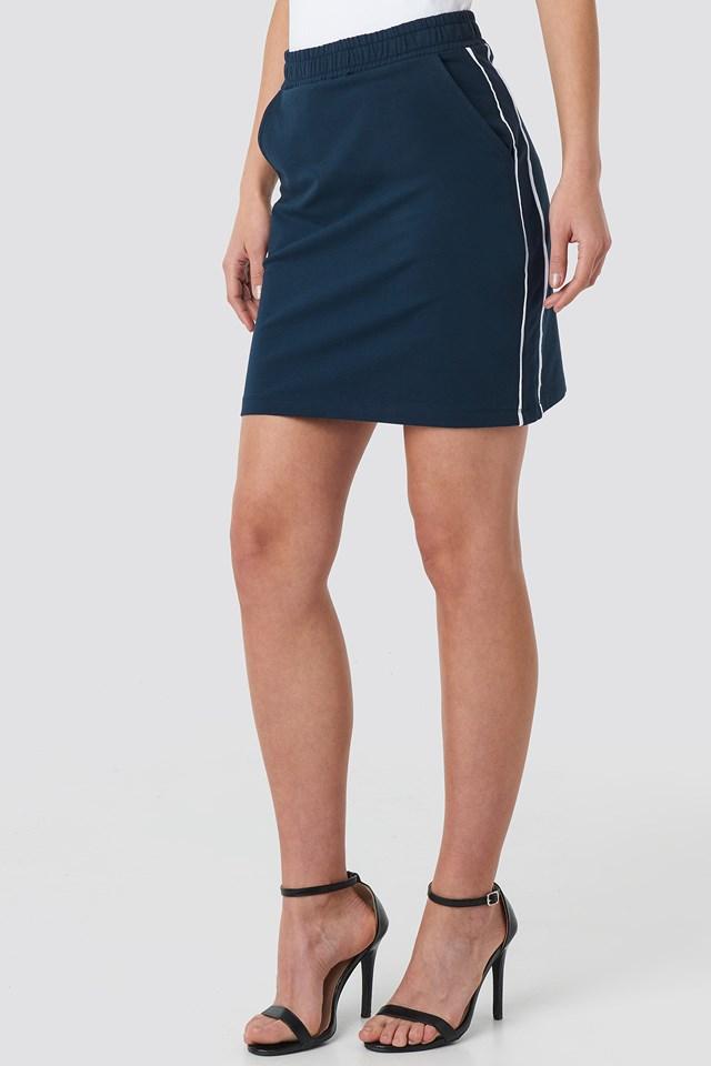 Piping Detail Mini Skirt Navy/White