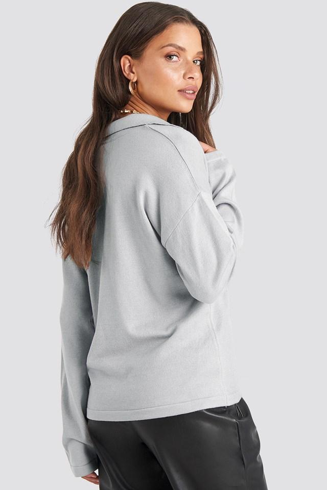 Pique Collar Knitted Sweater Light Grey