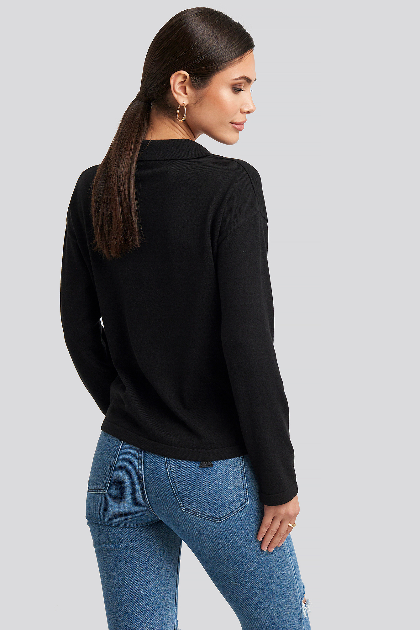 Black Pique Collar Knitted Sweater