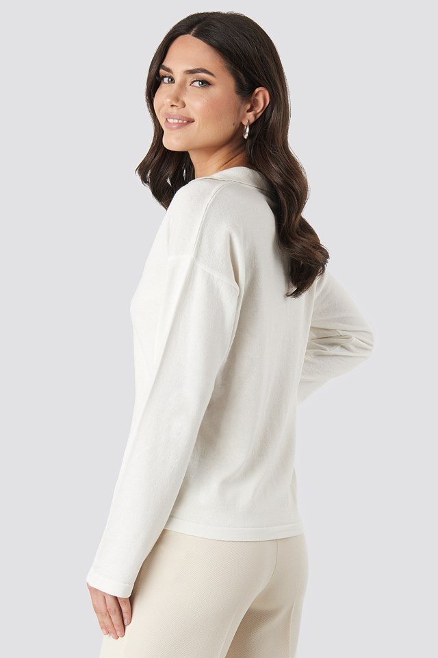 Pique Collar Knitted Sweater Offwhite