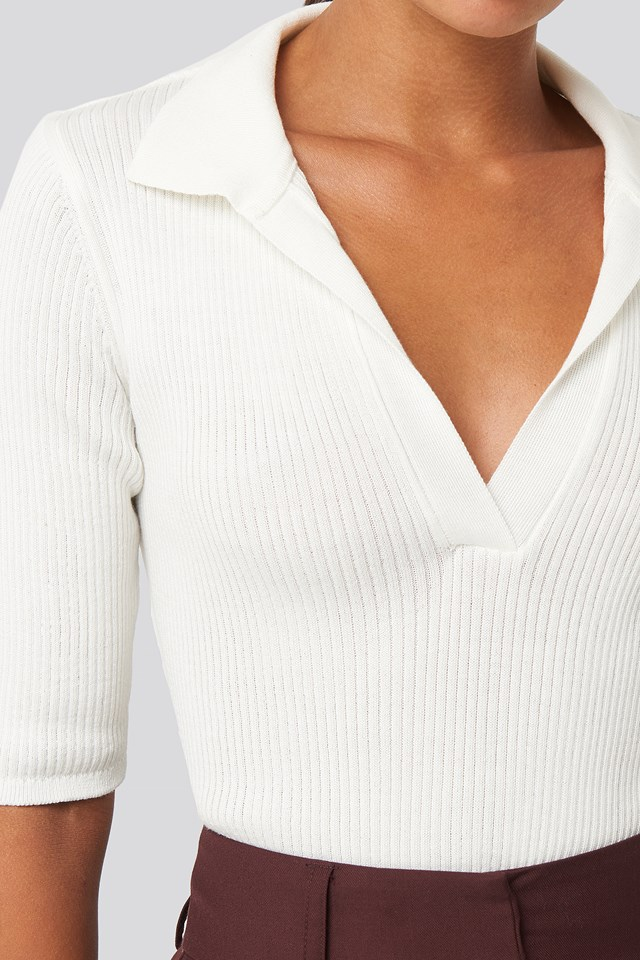 Pique Collar Knitted Top White