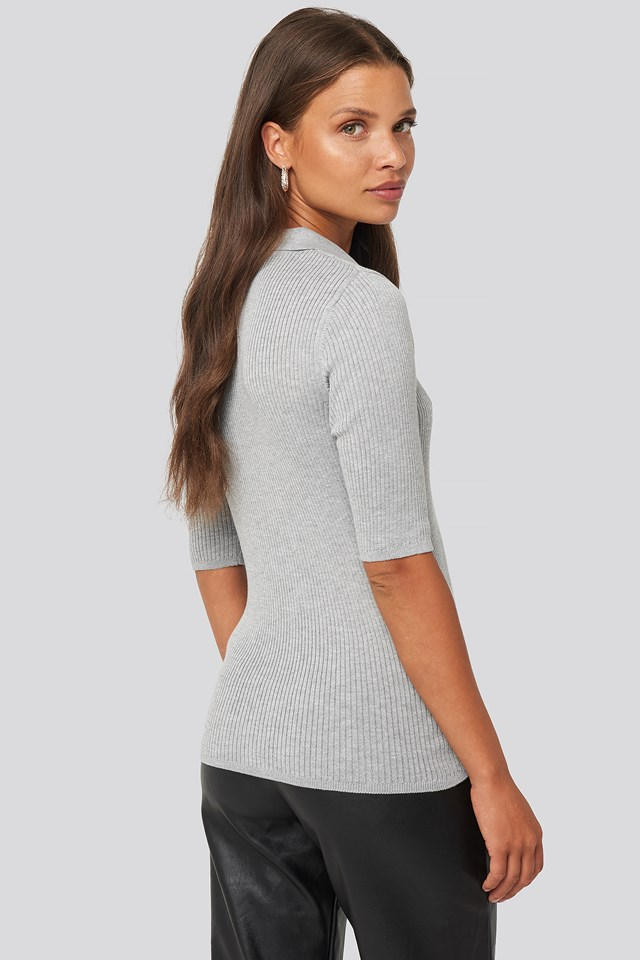 Pique Collar Knitted Top Grey