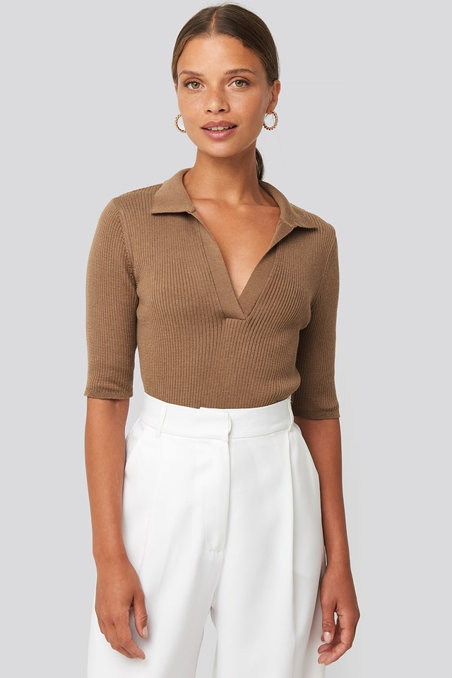 Pique Collar Knitted Top Brown