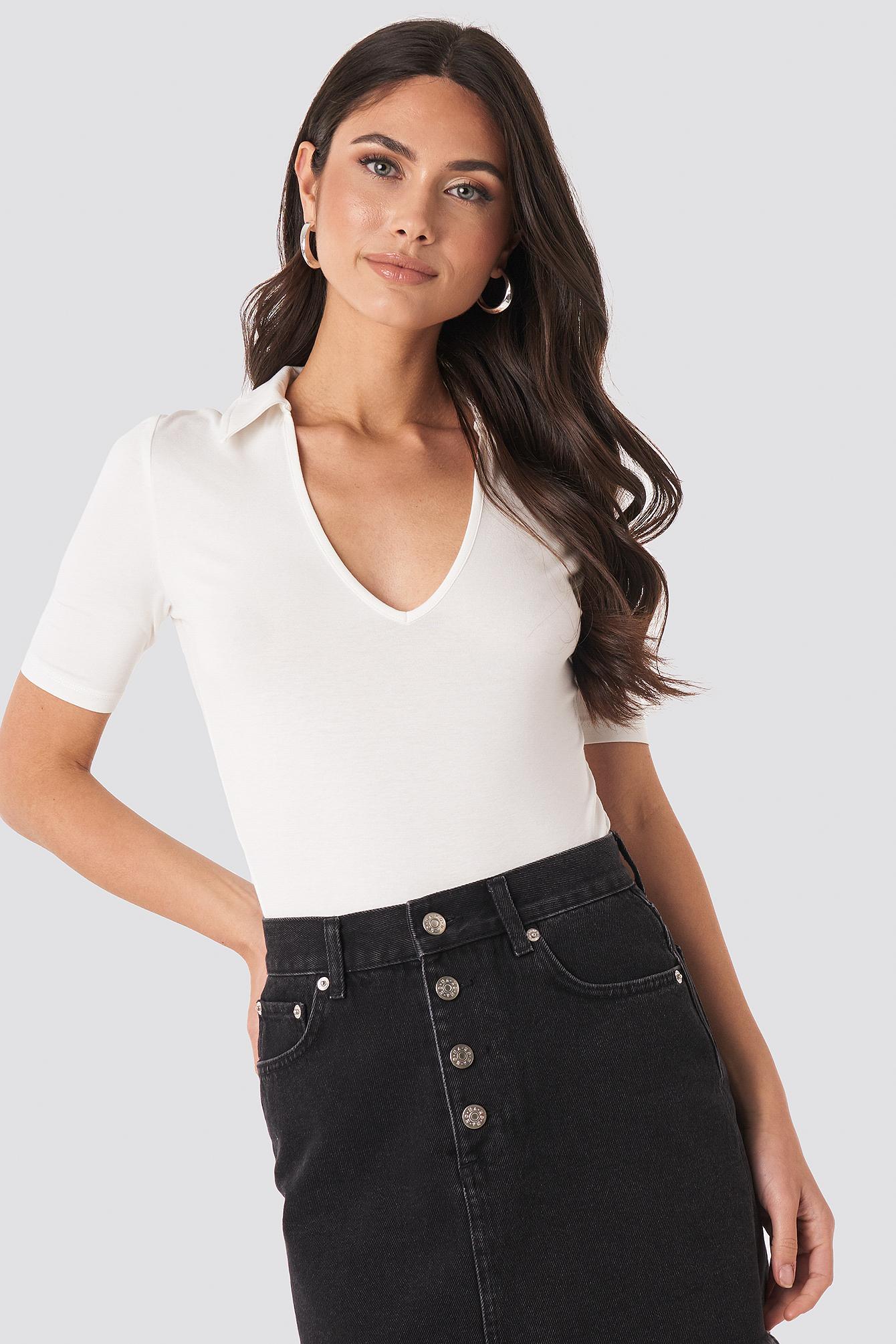 na-kd -  Pique Collar Top - White