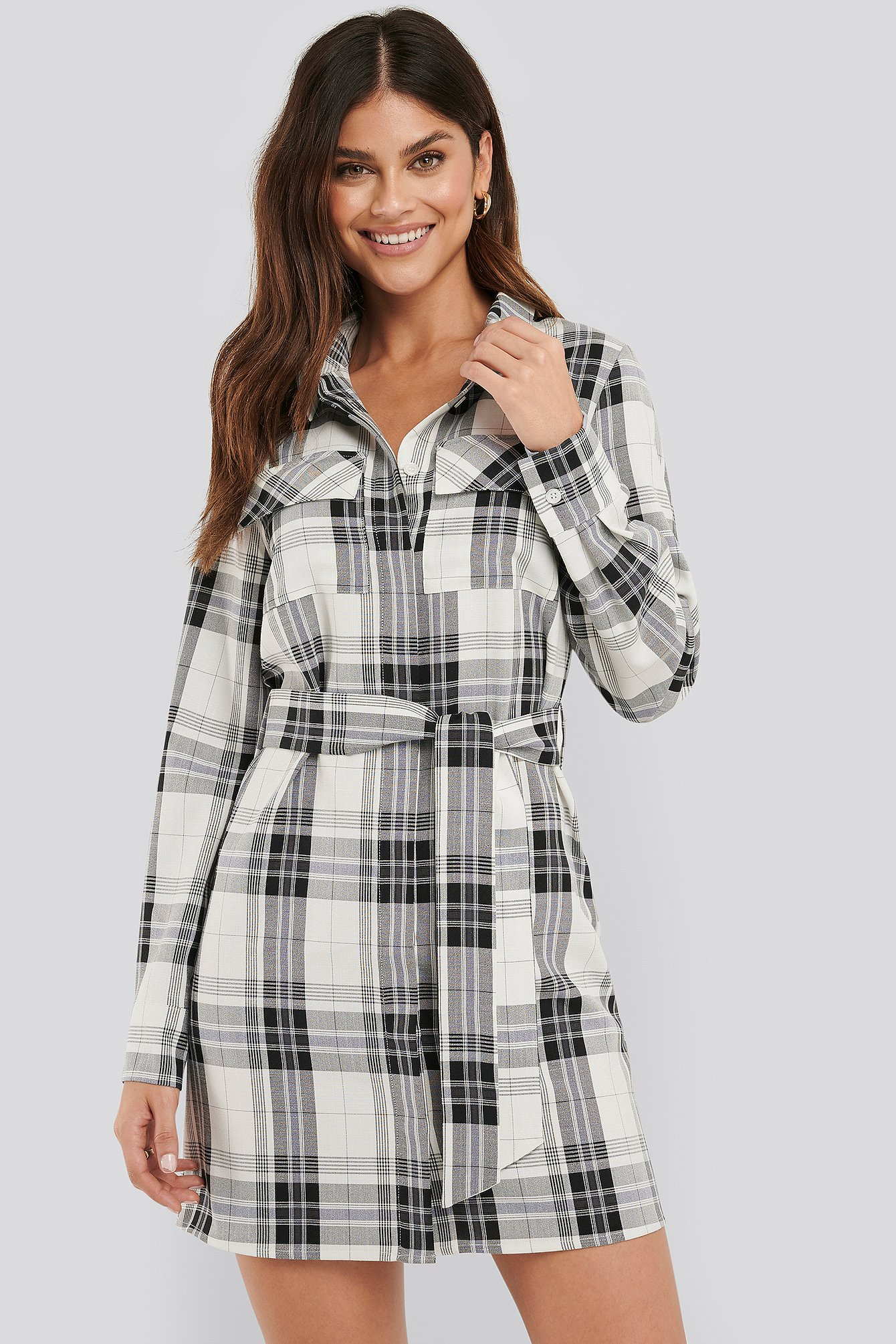 na-kd classic -  Plaid Belted Shirt Dress - Multicolor