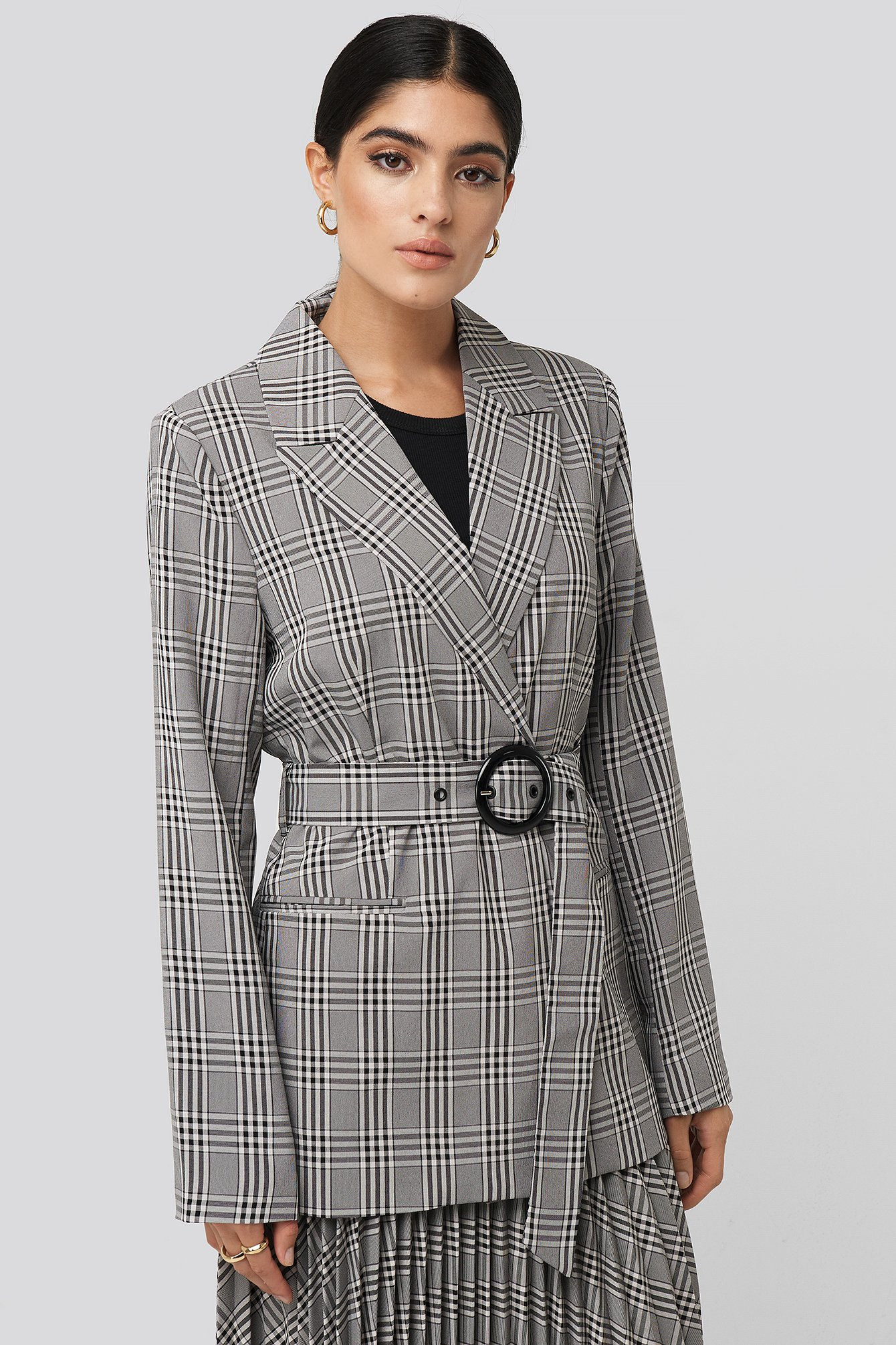 Black/White Check Plaid Buckle Belted Blazer