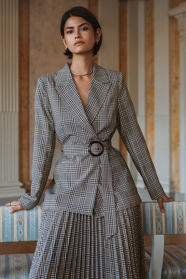 Plaid Buckle Belted Blazer Black/White Check