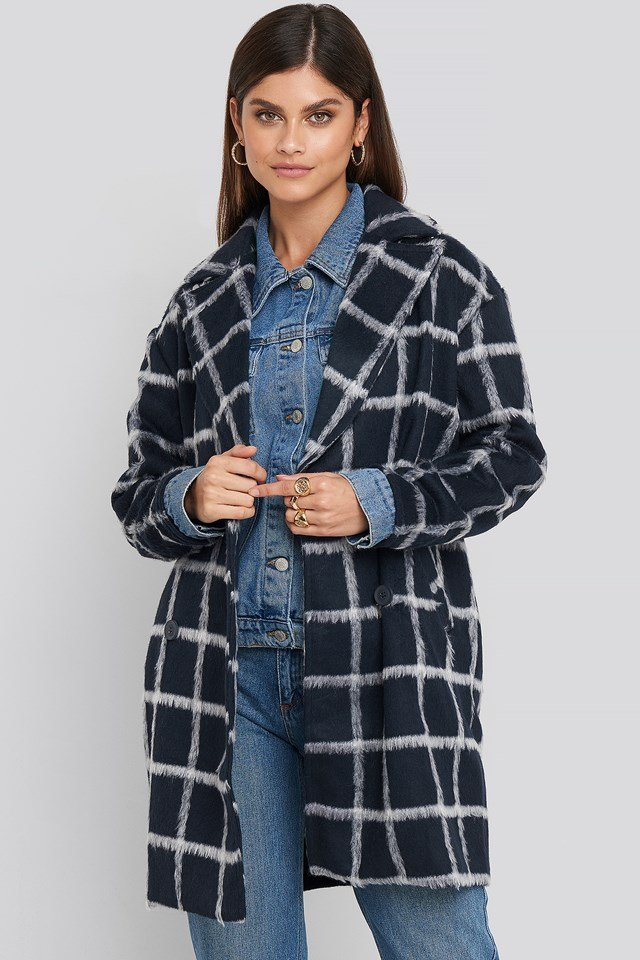 Plaid Checked Jacket Navy Check